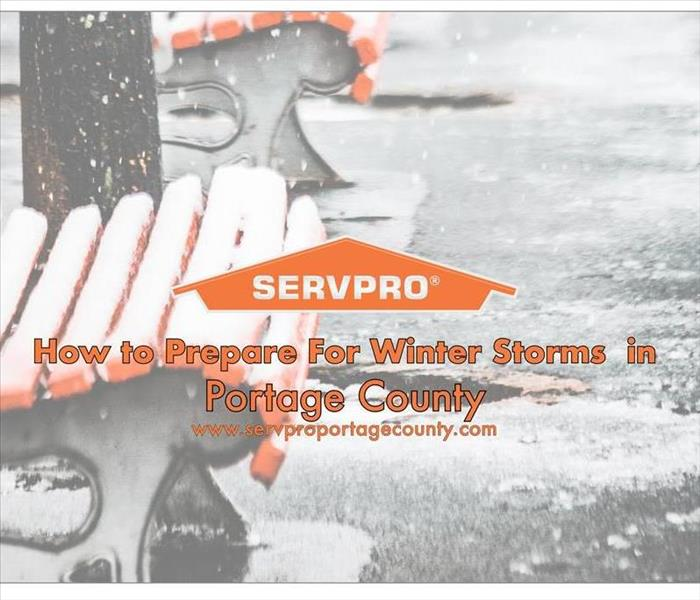 Orange SERVPRO house logo on a winter image with snow on a bench.