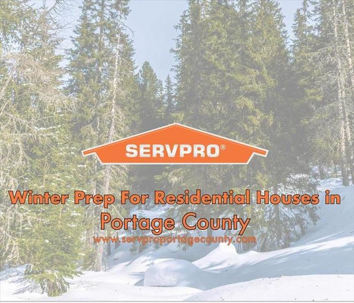 Orange SERVPRO house logo on a winter image with snow and trees.