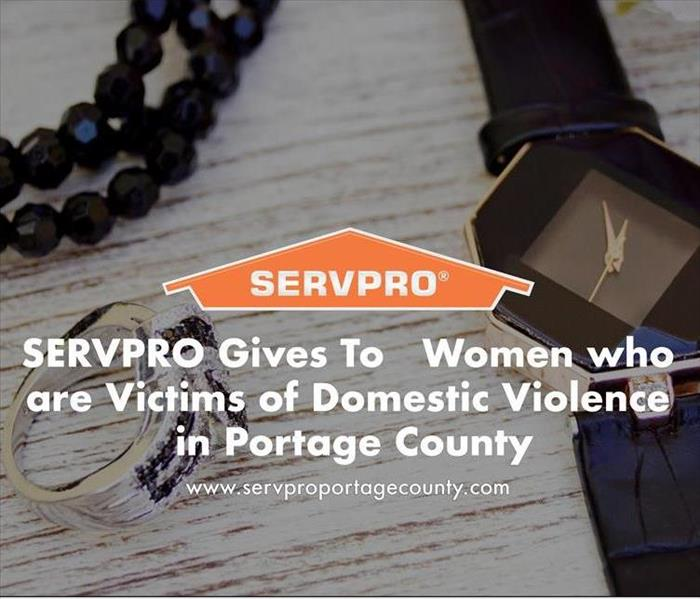 Orange SERVPRO  house logo on image with jewelry in background