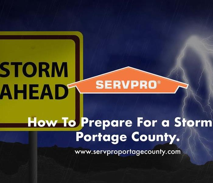 Orange SERVPRO  house logo on image with storm ahead sign.