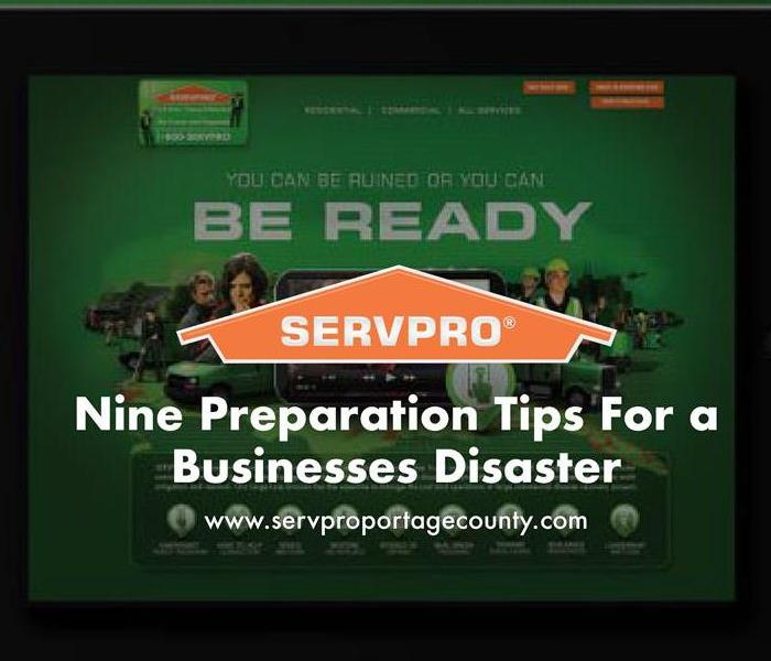 Orange SERVPRO  house logo on image with iPad of SERVPRO website